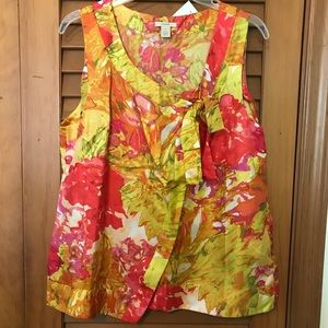 J.CREW Silk Floral Tie Front Detail Blouse